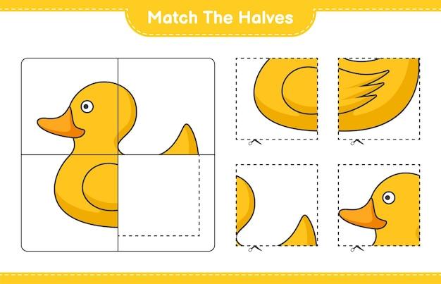 Passen sie die hälften an match-hälften von rubber duck pädagogisches kinderspiel druckbares arbeitsblatt