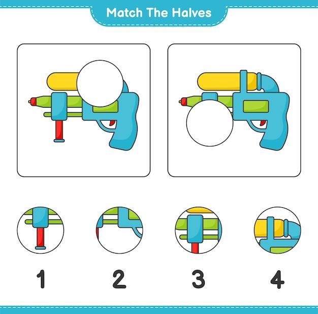 Passen sie die hälften an match-hälften von water gun educational kinderspiel druckbares arbeitsblatt