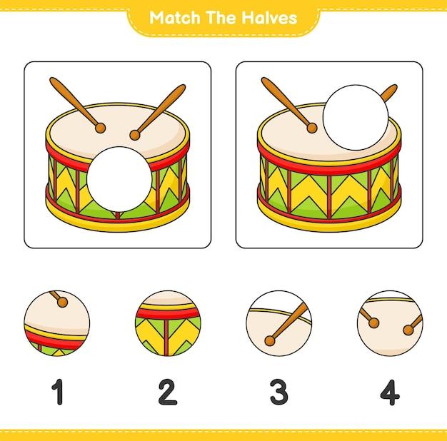 Passen sie die hälften an passen sie die hälften des druckbaren arbeitsblatts für das trommelpädagogische kinderspiel an