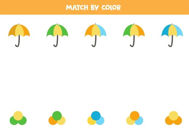 Passen sie regenschirme und farben zusammen. pädagogisches matching-spiel für kinder.