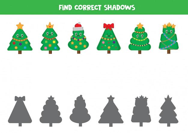 Passen sie weihnachtsbaum und ihre schatten zusammen. logisches spiel für kinder.