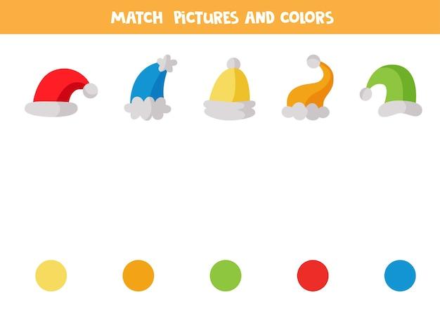 Passen sie wintermützen nach farben an. pädagogisches logisches spiel für kinder