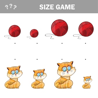 Passendes lernspiel für kinder. match von cartoon-katzen und wollknäuel zur größe. aktivität für kinder und kleinkinder im vorschulalter.