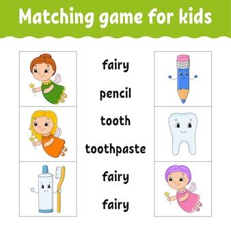Passendes spiel für kinder. finde die richtige antwort. zeichne eine linie. wörter lernen. arbeitsblatt für aktivitäten.