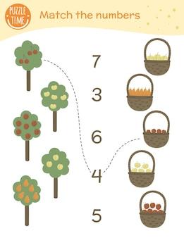 Passendes spiel mit bäumen, früchten und körben. mathe-aktivität für kinder im vorschulalter. arbeitsblatt zählen. pädagogisches rätsel mit niedlichen lustigen charakteren.