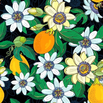 Passionsblume passiflora, passionsfrucht auf einem schwarzen hintergrund. blumen nahtloses muster. große helle exotische maracuja blumen, knospe und blatt. sommerillustration für drucktextil, stoff, verpackung.