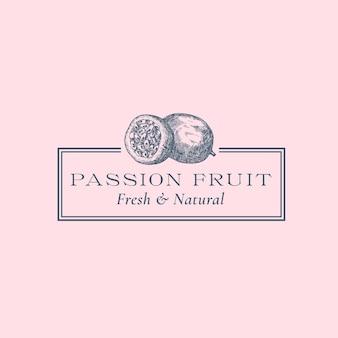 Passionsfrucht abstraktes vektorzeichensymbol oder logoschablone handgezeichnete früchte-silhouette-skizze mit...