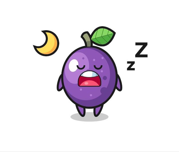 Passionsfrucht-charakterillustration, die nachts schläft, niedliches stildesign für t-shirt, aufkleber, logo-element