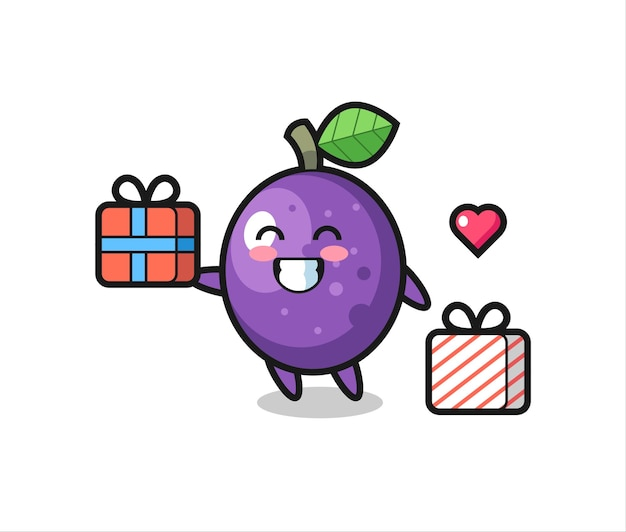 Passionsfrucht-maskottchen-karikatur, die das geschenk gibt, niedliches design für t-shirt, aufkleber, logo-element