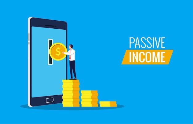 Passives einkommen aus online-konzept. geschäftsmann, der geld vom smartphone nimmt.