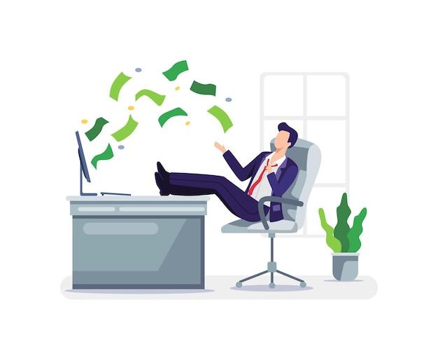 Passives einkommen konzept illustration. geschäftsmann, der sich im arbeitsbereich mit geld entspannt, das aus seinem monitor kommt. vektor in einem flachen stil