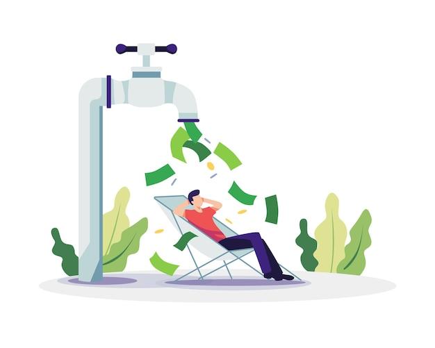 Passives einkommen konzept illustration. mann, der sich unter dem wasserhahn entspannt, der geld ausgibt. vektor in einem flachen stil