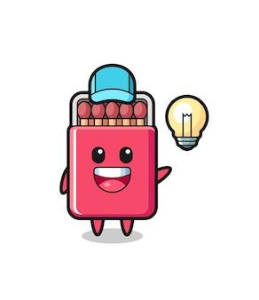 Passt zu box-charakter-cartoon, der die idee bekommt, süßes design
