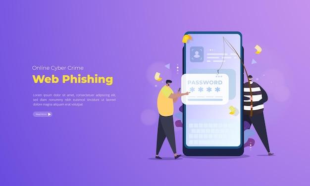 Passwort-diebstahl-web-phishing-illustration auf mobilem konzept