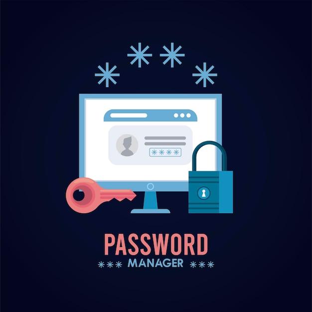 Passwort-manager-thema mit vorhängeschloss und web-vorlage in der desktop-illustration