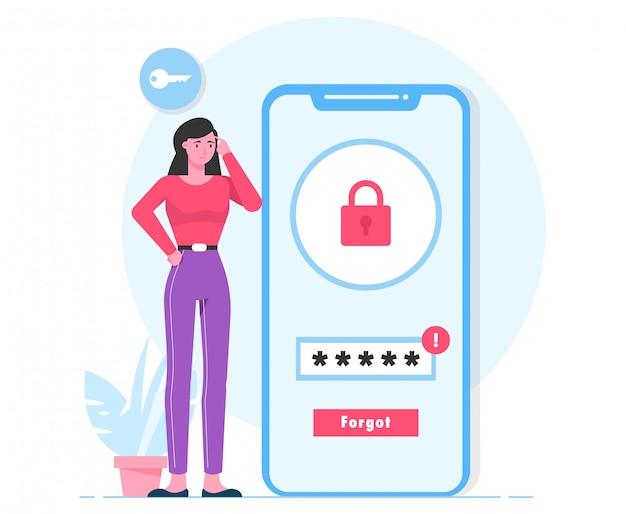 Passwort vergessen login frau flache illustration