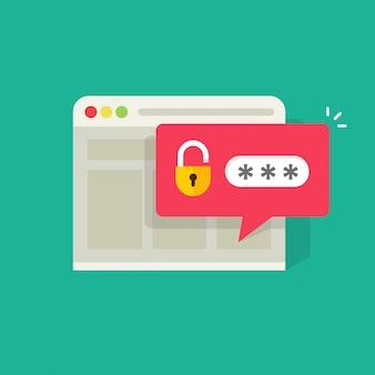 Passwortbenachrichtigungsblase mit offenem verschluss in der browser-witwenillustration
