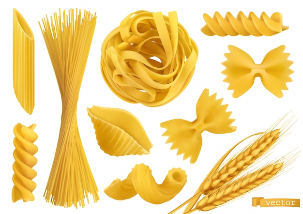 Pasta, 2d realistische vektorobjekte gesetzt. lebensmittelillustration