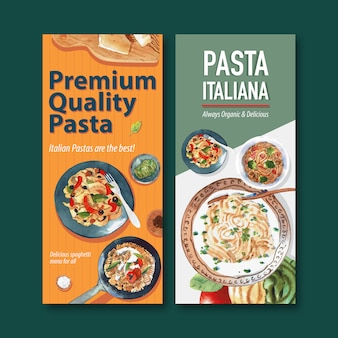 Pasta flyer design mit verschiedenen pasta aquarell illustration.