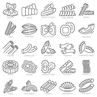 Pasta-icon-set. umrisssatz teigwarenvektorikonen