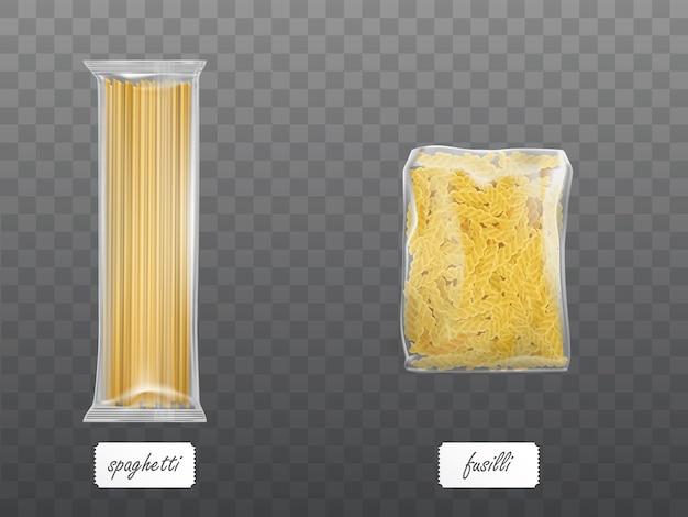Pasta in klarer packung mit trockenen makkaroni-spaghetti