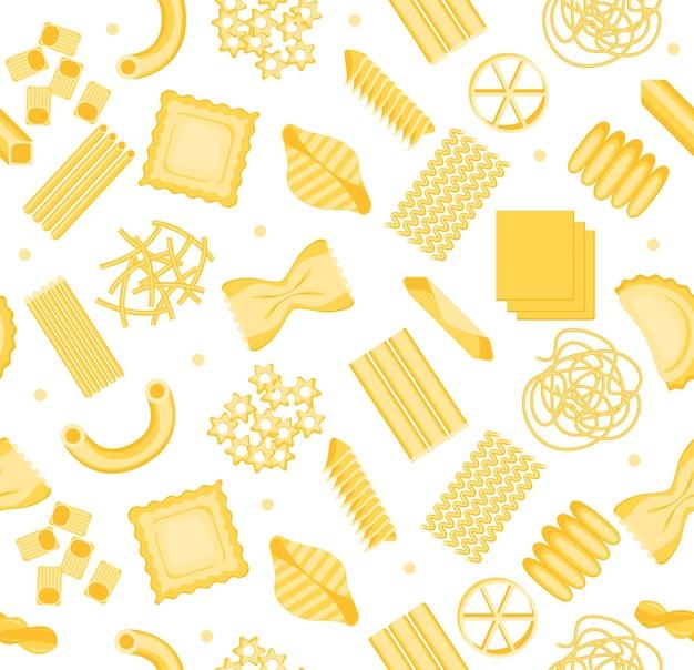 Pasta-muster-hintergrund auf einem leichten sortiment verschiedener formen für ihr lebensmittelgeschäft. italienische küche menü vektor-illustration von penne, fusilli, spaghettigh