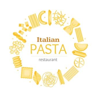 Pasta round design template banner card für bar, restaurant oder cafe verschiedene formen sortiment für unternehmen. vektor-illustration