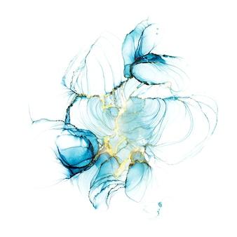 Pastell-cyanfarbener, flüssiger marmoraquarellhintergrund mit goldenen linien und pinselflecken. teal türkis marmorierter alkoholtinte-zeichnungseffekt. vektorillustrationshintergrund, aquarellhochzeitseinladung