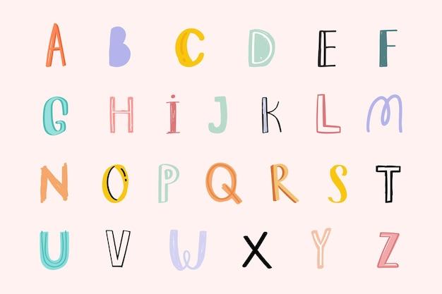 Pastell-doodle-alphabet-wortkunst-set