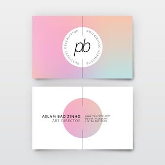 Pastell-farbverlaufsschablone für visitenkarten
