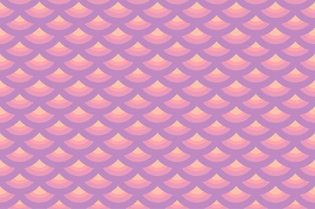 Pastell lila rosa geometrische fischschuppen nahtlose muster. süßer meerjungfrauenschwanz. design für hintergrund, tapetenhintergrund, kleidung, verpackung, batik, stoff. vektor.