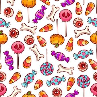 Pastell nahtloses muster der niedlichen halloween-süßigkeiten und bonbons