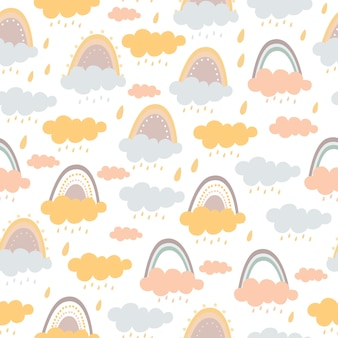 Pastell nahtloses muster von regenbogen und wolken