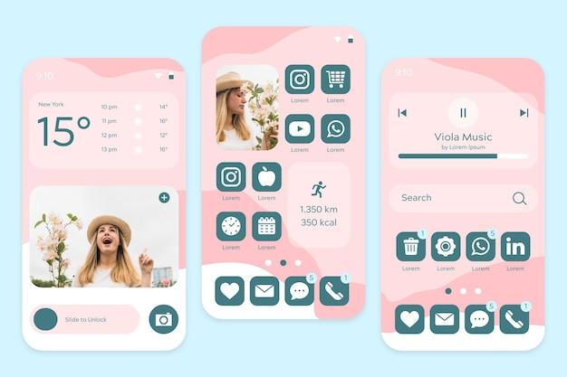 Pastell-startbildschirm in rosatönen