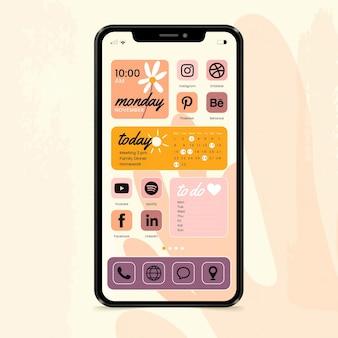 Pastell-startbildschirm-oberfläche