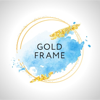Pastellblaue aquarellflecken und goldene linien. gold runder konturrahmen.
