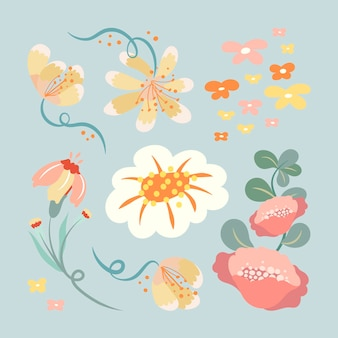 Pastellblume, flache designvektorillustration der frühlingsclipart