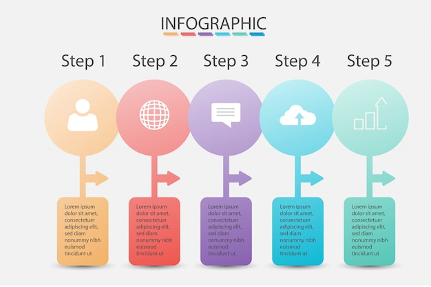Pastellfarbe der infographic daten des schritt-geschäfts, für darstellung und schablone