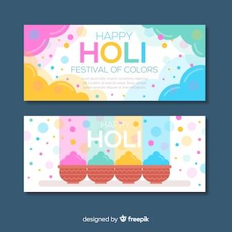 Pastellfarbe holi festival banner