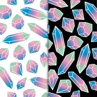 Pastellfarben geometrischer kristalldiamant polygonaler gegenstand edelstein und schmucksteine premium-vektor