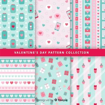 Pastellfarben-valentinsgruß-mustersammlung