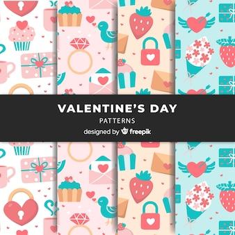 Pastellfarben-valentinstag-mustersammlung