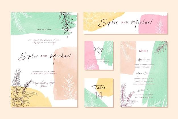 Pastellfarbene aquarellhochzeitsbriefpapierartikel