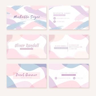 Pastellfarbene flecken auf visitenkarte