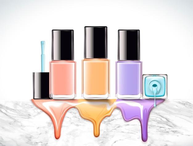 Pastellfarbener nagellack auf marmorsteinwand in 3d-darstellung