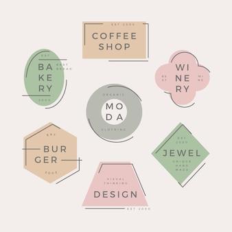 Pastellfarbenes design mit minimalem logo-pack