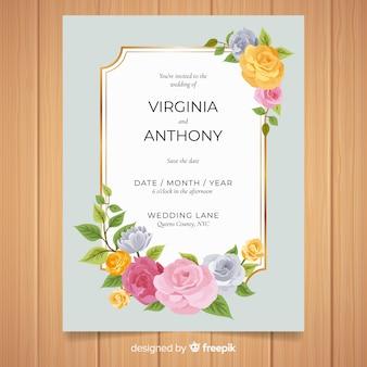 Pastellfarbrosen, die einladungsschablone wedding sind