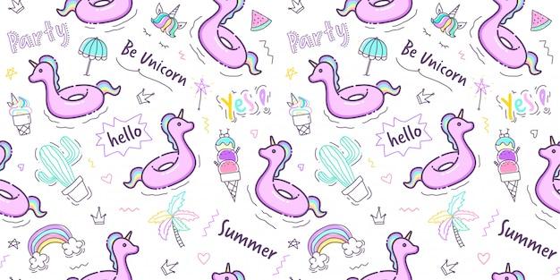 Pastellhand gezeichnetes sommermuster nahtlos