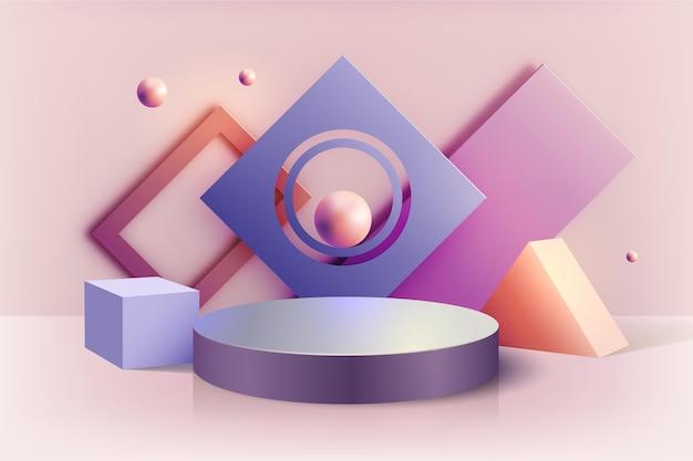 Pastellpodest im 3d-effekt