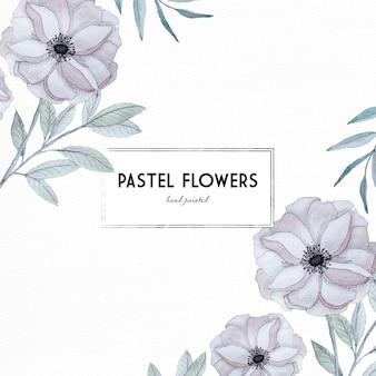 Pastellrosa design mit aquarell blumen und blätter